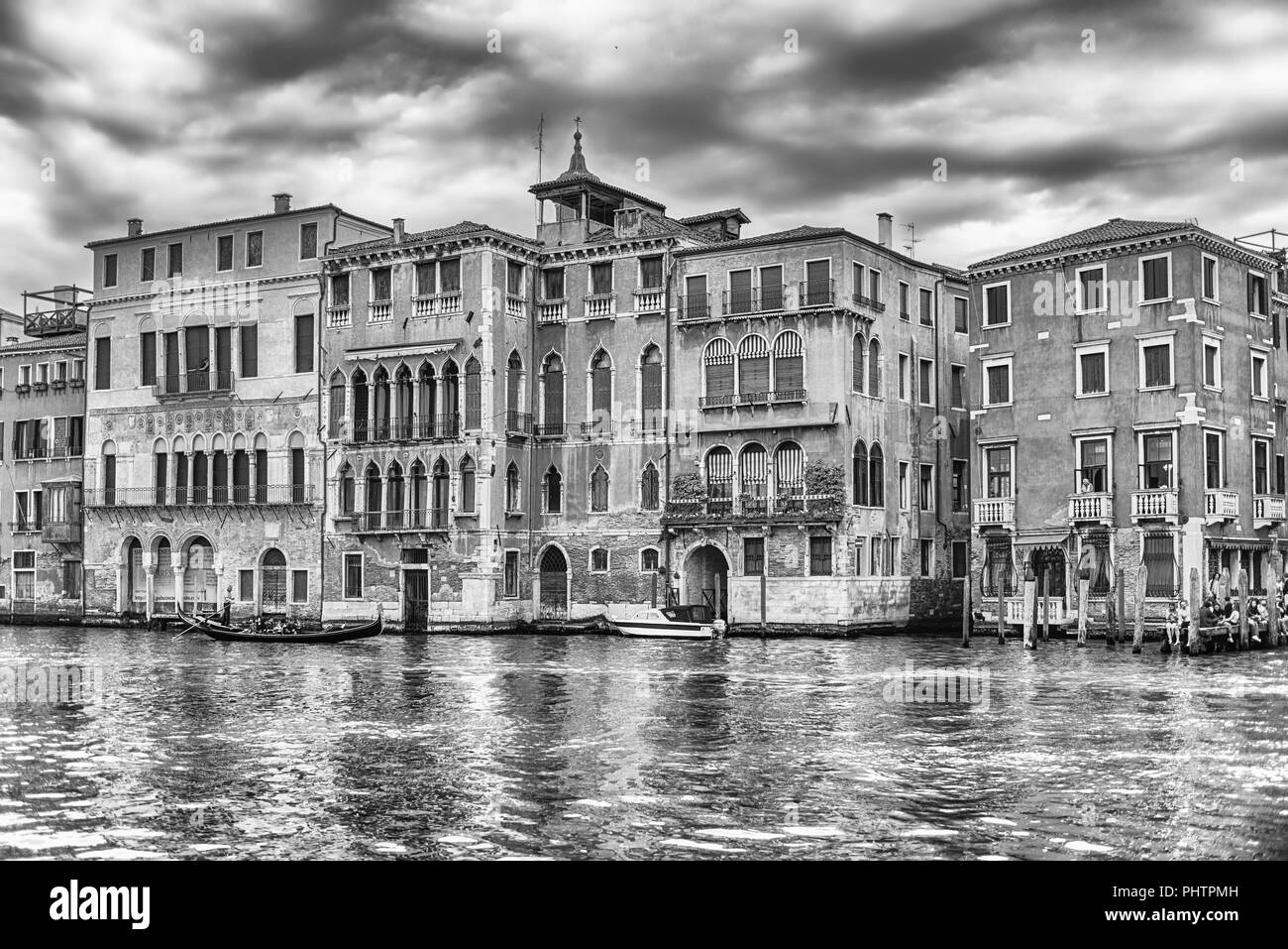 Scenic architecture along the Grand Canal in Cannaregio district of Venice, Italy - Stock Image