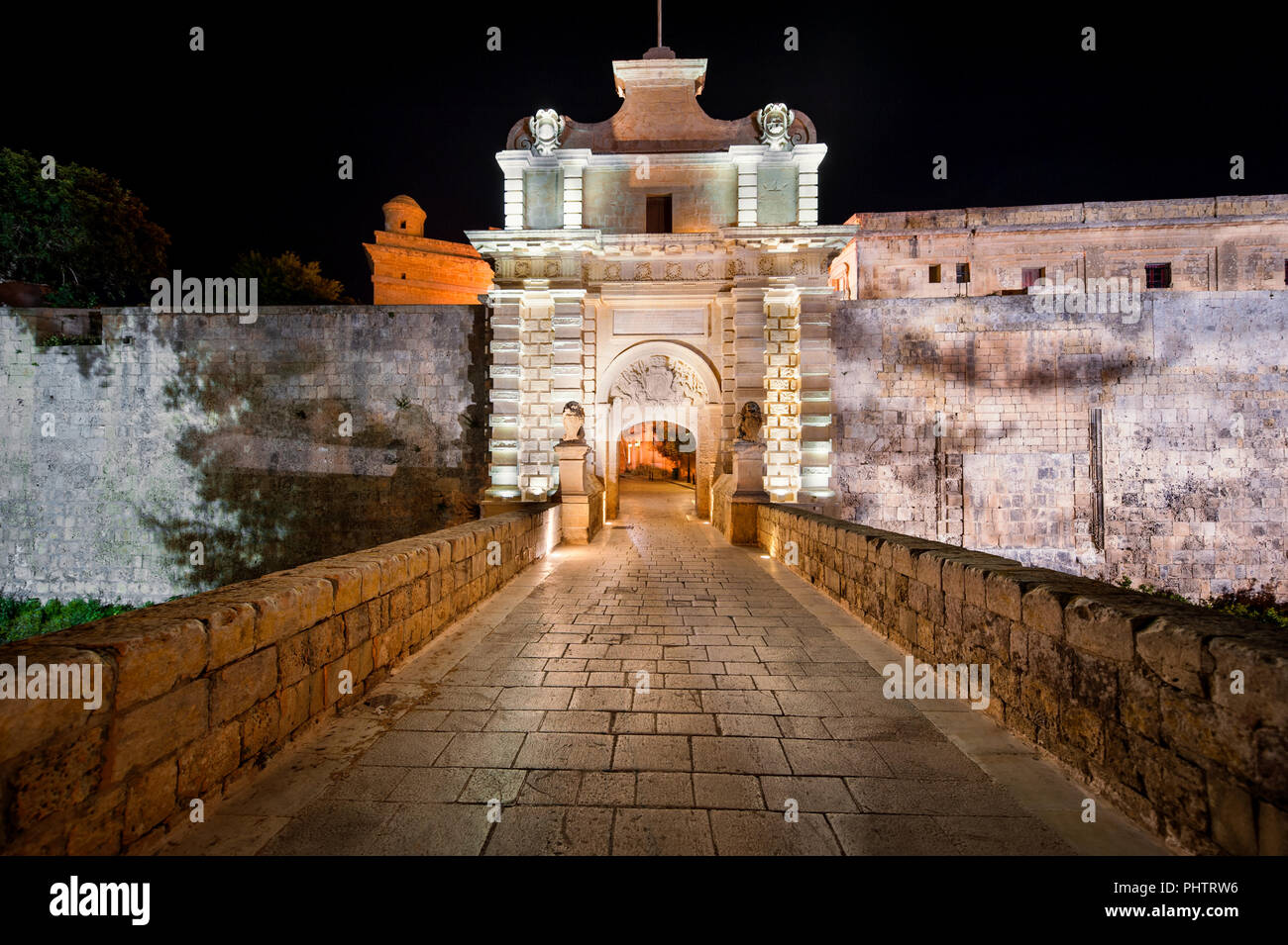 City Gate of Mdina Malta at Night - Stock Image