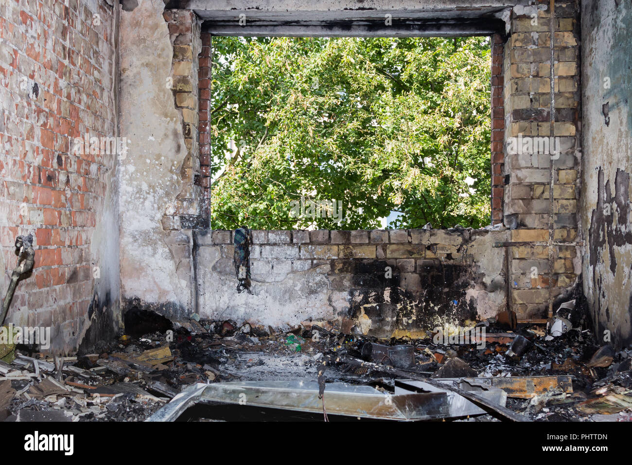 room apartment after a fire that occurred in the summer on the 4th floor of a 5-storey building, accidents backgroung - Stock Image