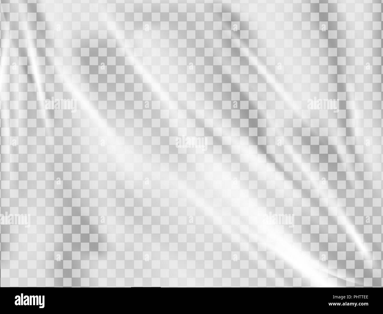Realistic plastic wrap texture . Stretched polyethylene cover. - Stock Vector