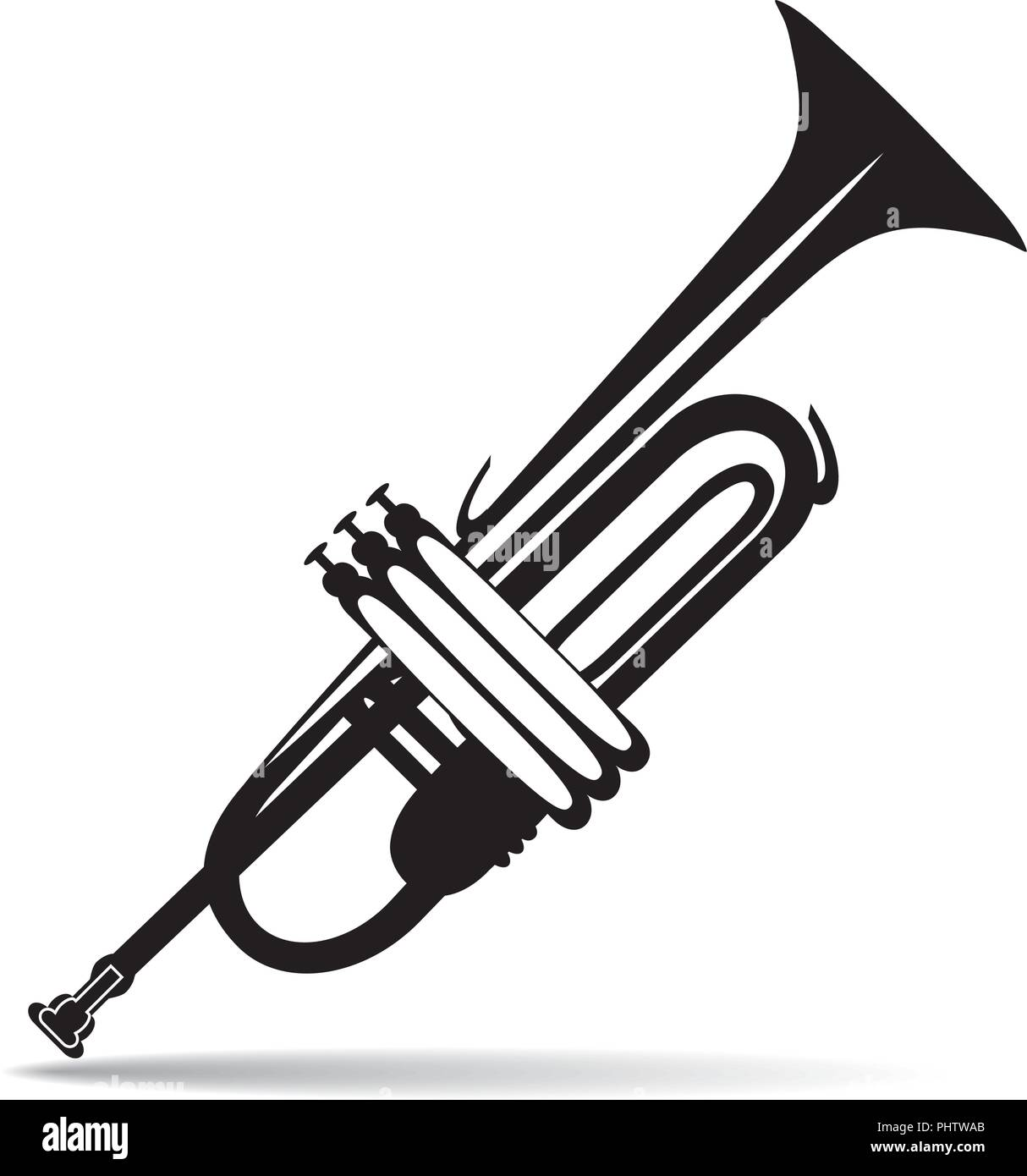 Vector illustration of black and white trumpet - Stock Image