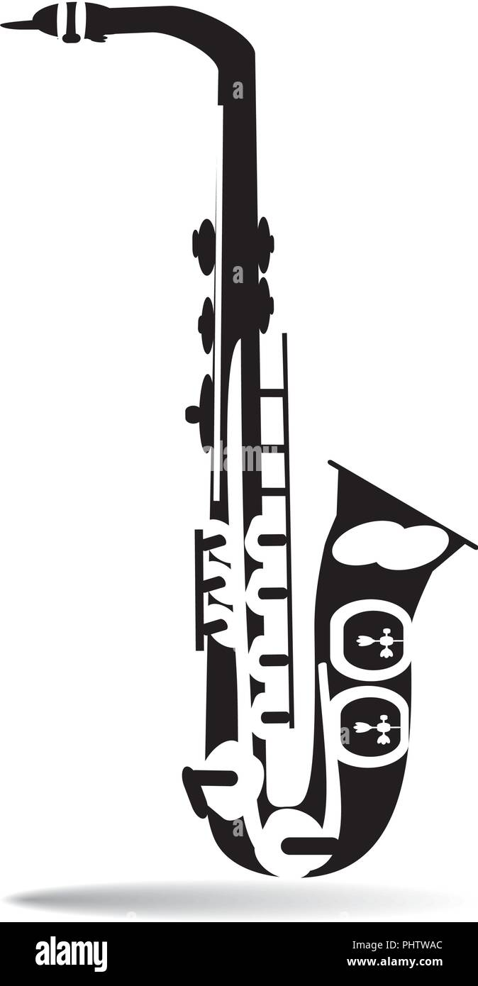 Vector illustration of black and white saxophone - Stock Vector