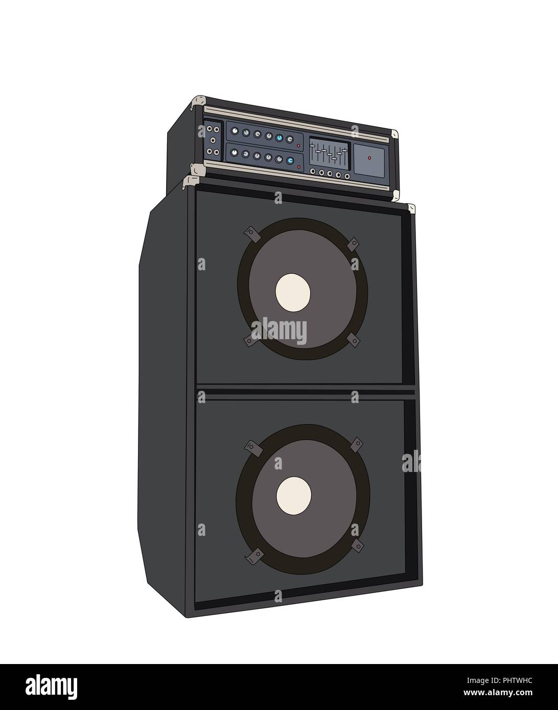 Big vintage bass amplifier vector illustration isolated with white background. - Stock Image