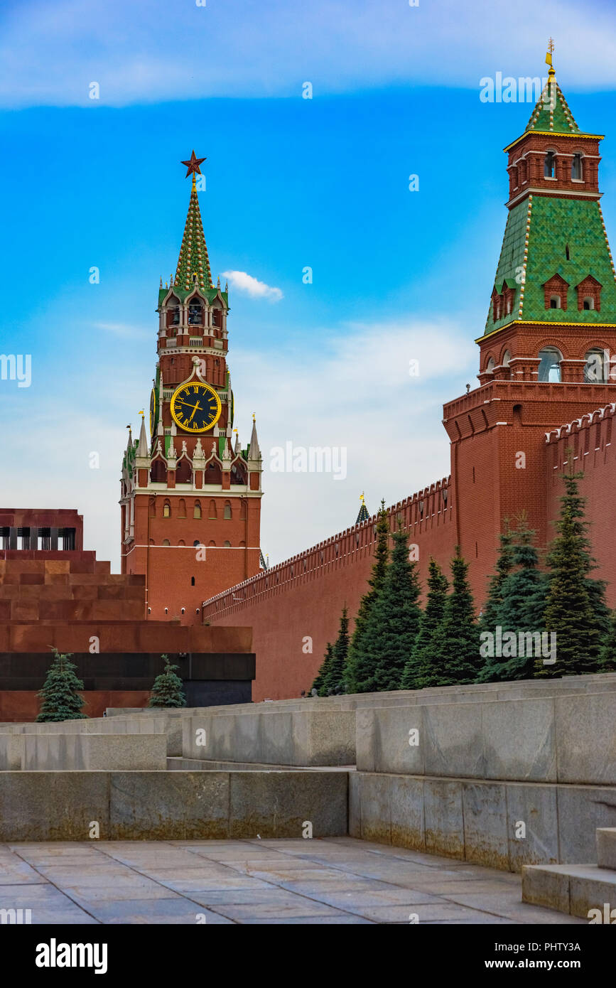 Moscow Red Square Kremlin Clock Tower Symbol Of Russia Stock Photo