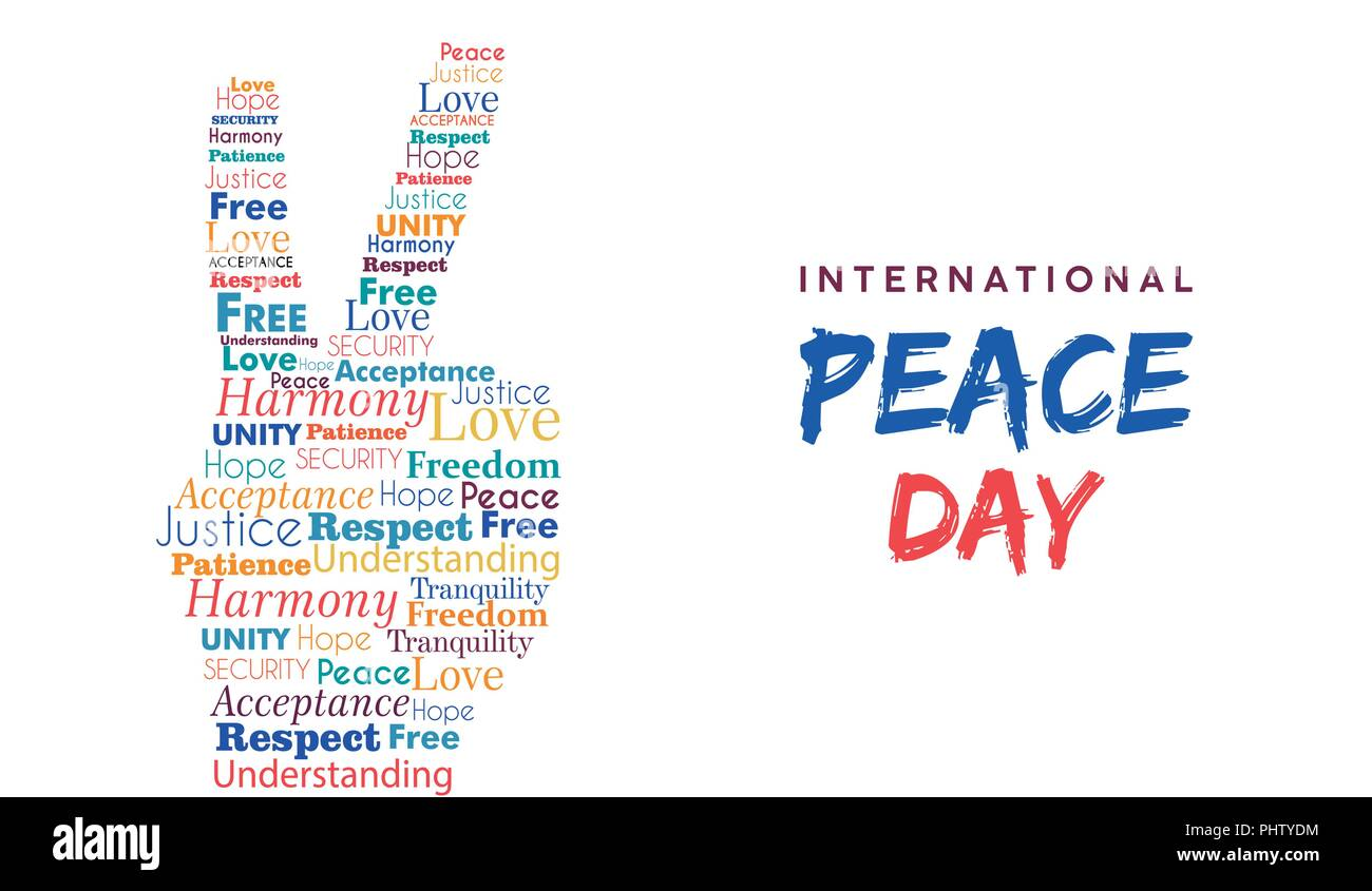 World Peace Day Il Ration For International Freedom And Holiday Cele Tion Hand Sign Made Of Peaceful