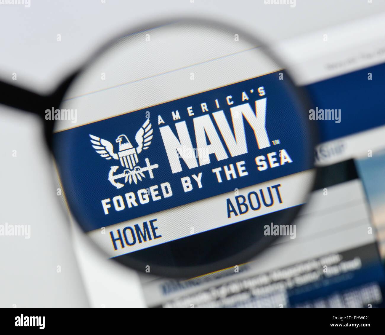 Milan, Italy - August 20, 2018: U.S. Navy website homepage. U.S. Navy logo visible. - Stock Image