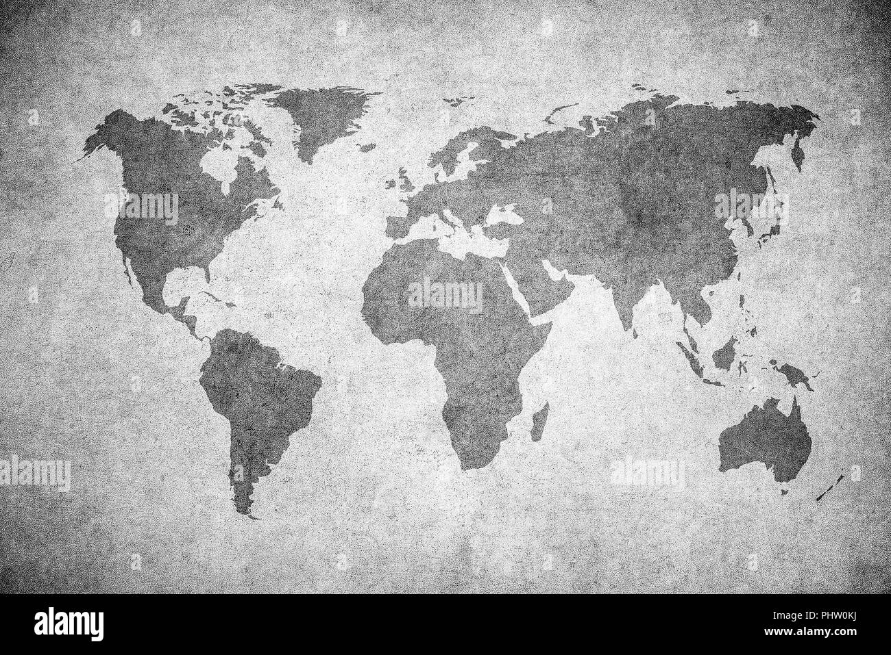 grunge map of the world - Stock Image