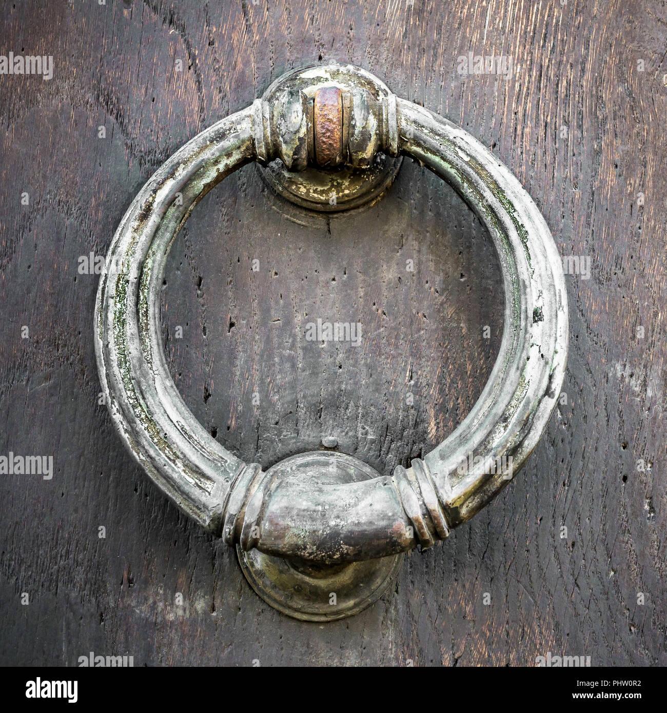Vintage Door Knocker On Wood   Stock Image
