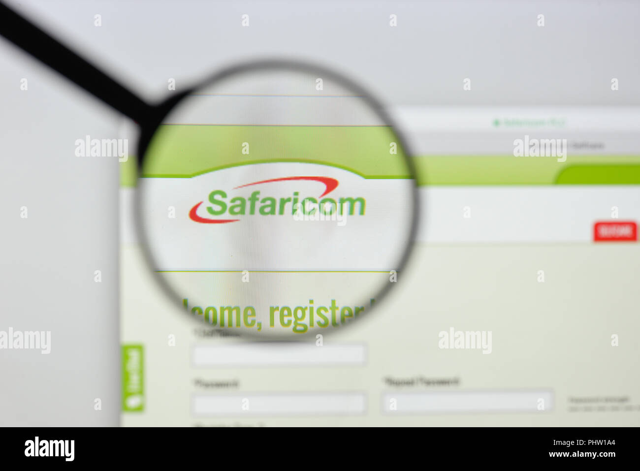 Milan, Italy - August 20, 2018: Safaricom website homepage. Safaricom logo visible. Stock Photo