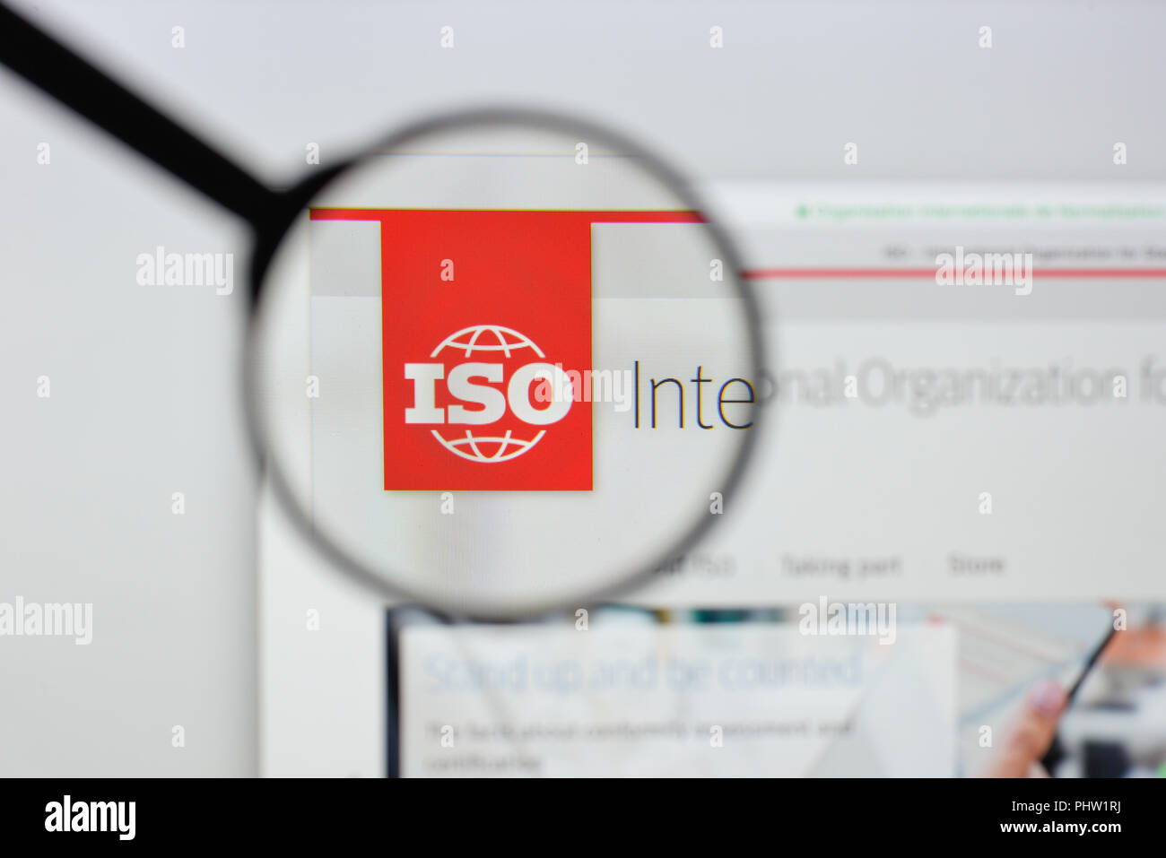 Milan, Italy - August 20, 2018: ISO - International Organization for Standardization website homepage. ISO - International Organization for Standardiz - Stock Image
