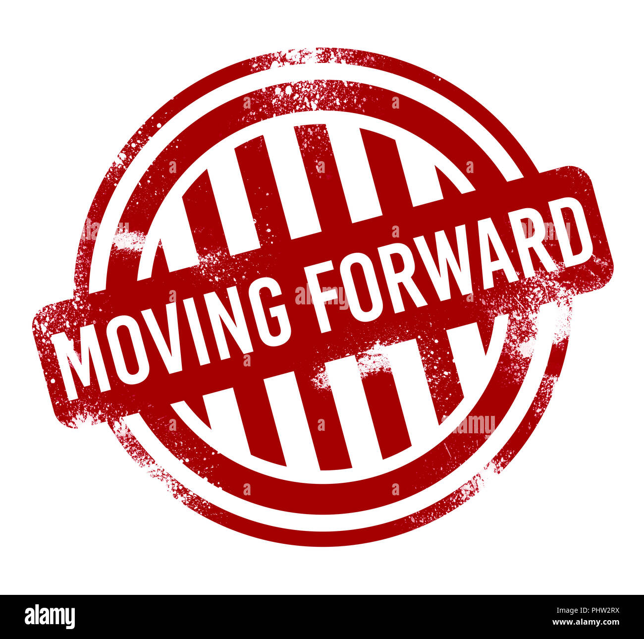 Moving forward - red grunge button, stamp - Stock Image