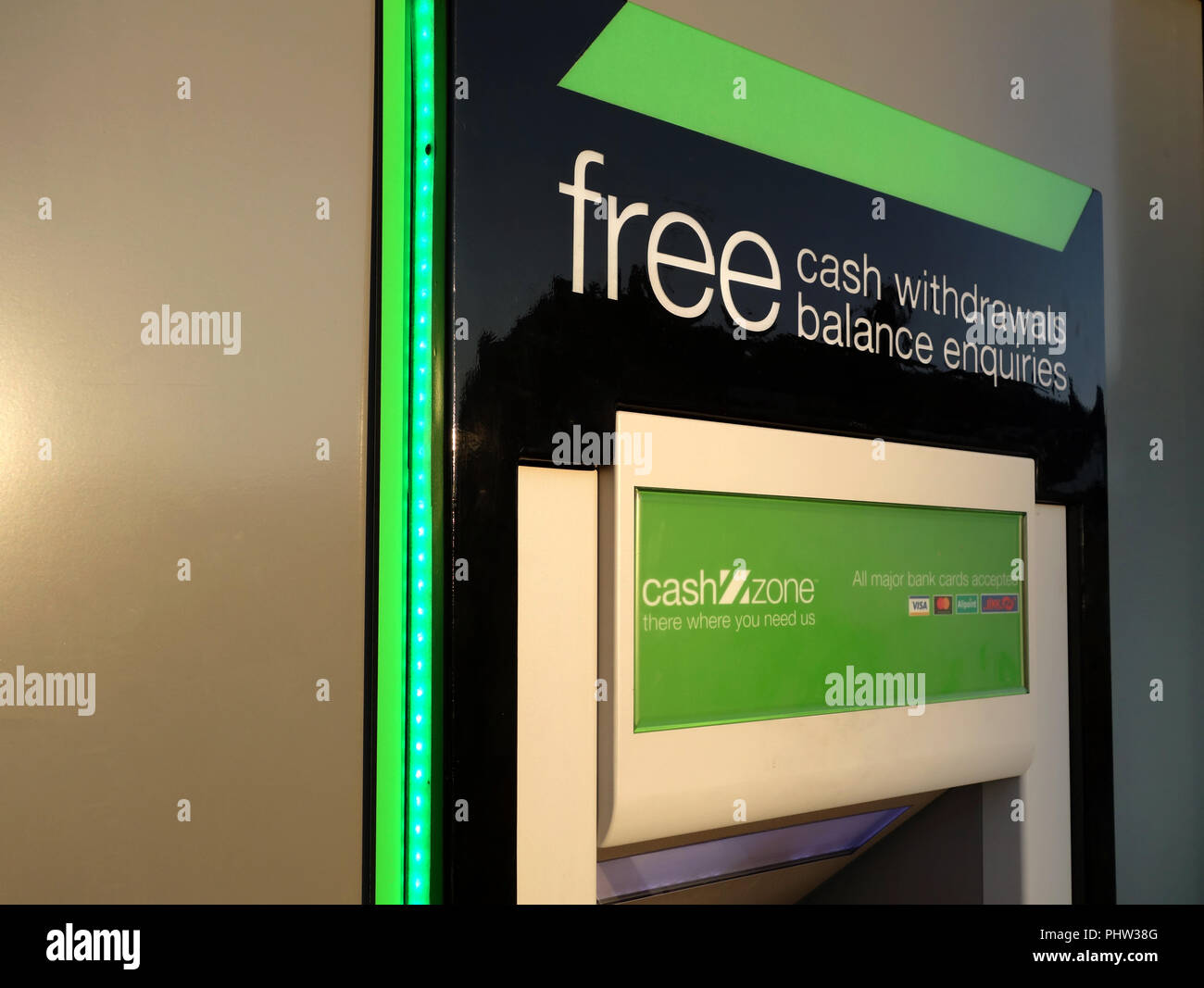 New Free Cash Zone ATM Cashpoint in the village of Thurcroft, Rotherham. - Stock Image