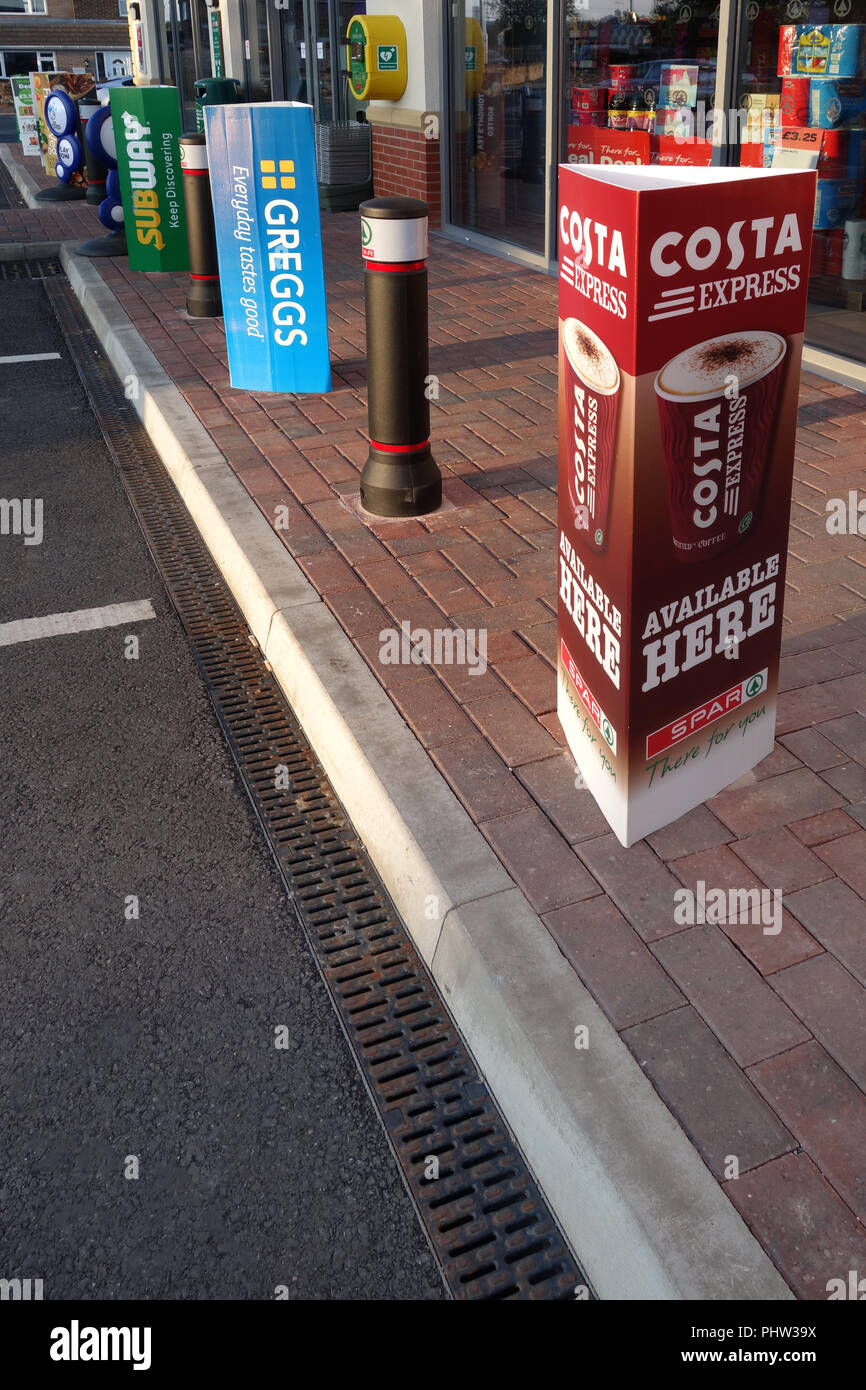 Advertising outside new shop units at new complex in Rotherham - Stock Image