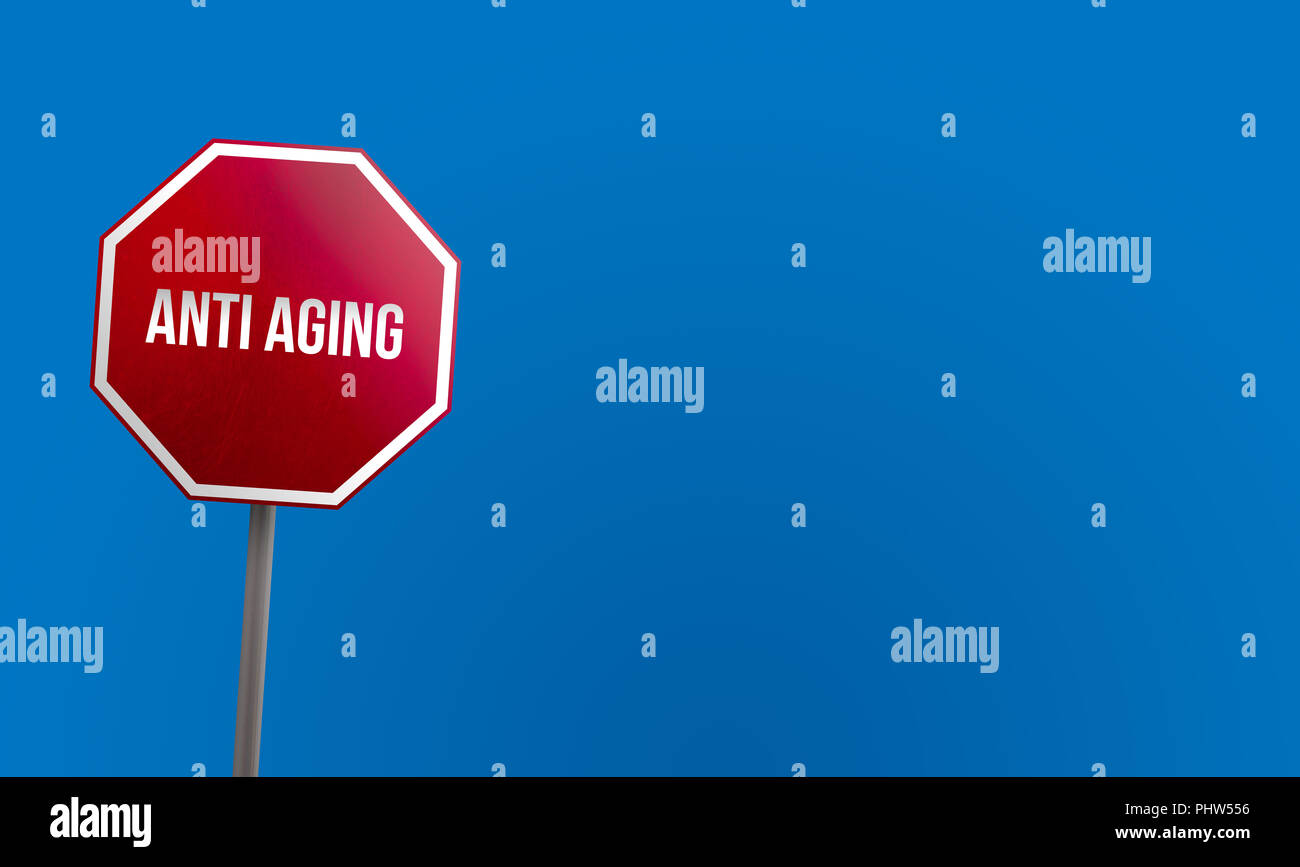 anti aging - red sign with blue sky - Stock Image