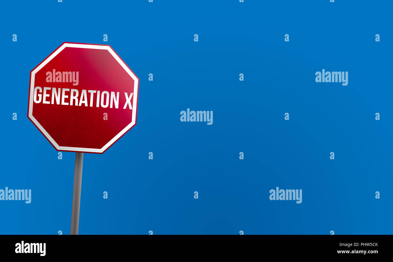 Generation X - red sign with blue sky - Stock Image