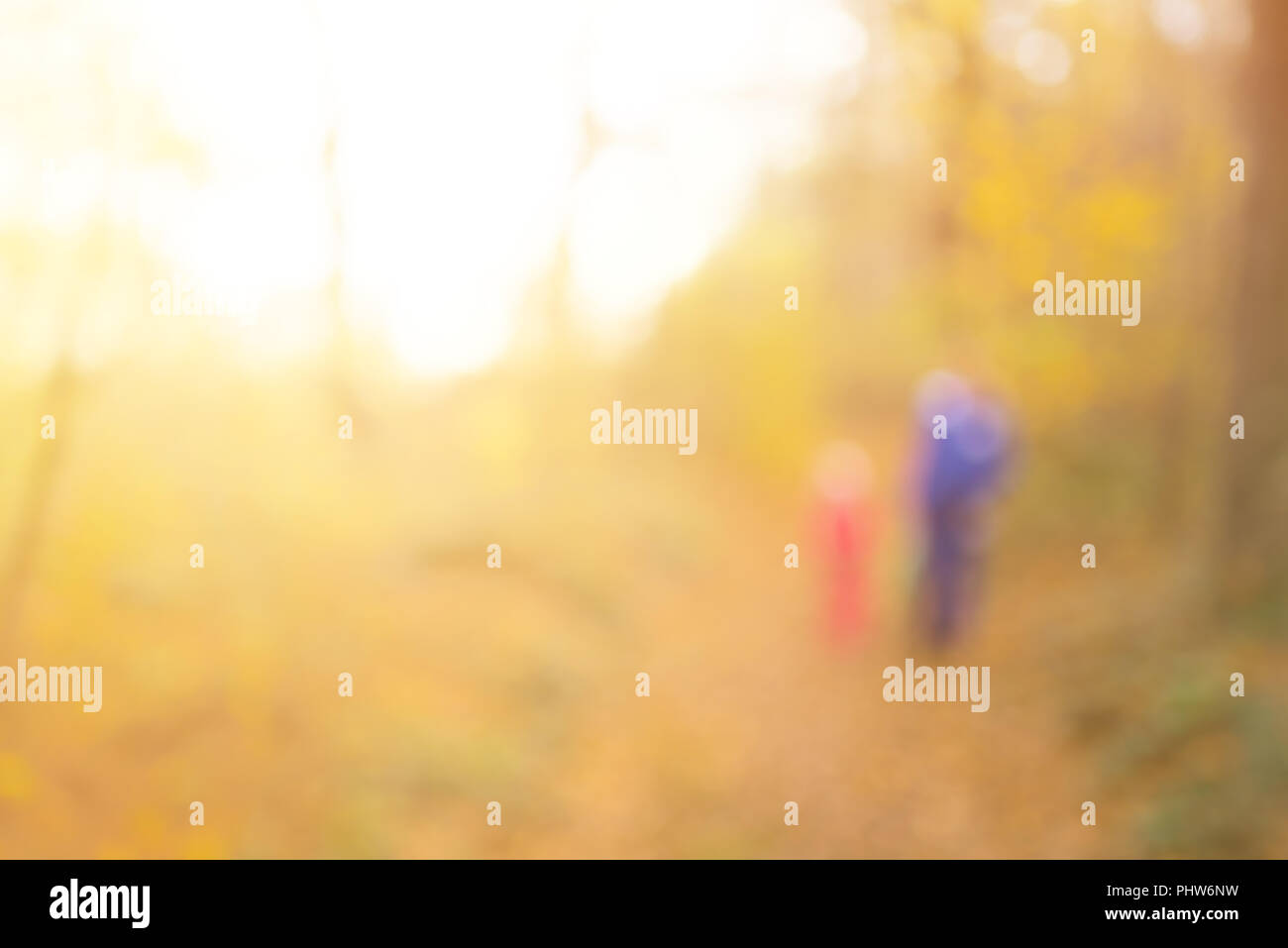 Abstract unfocused and soft background for design. Mom with baby on walk. Magical autumn forest, blur technique - Stock Image