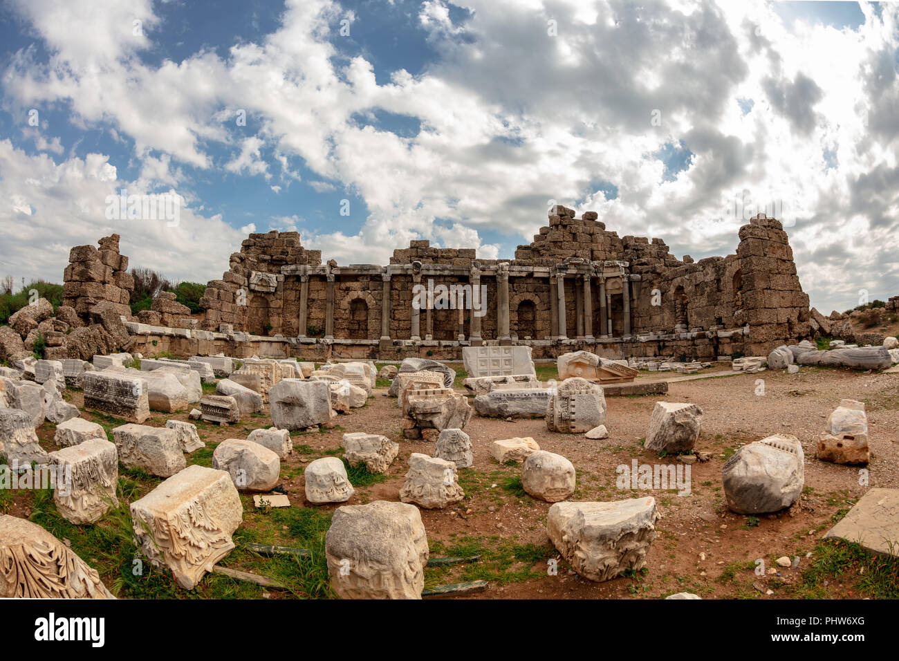 Ancient Side city agora, central hall ruins. Side, Antalya province, Turkey. - Stock Image