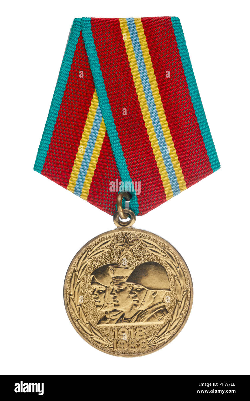 Soviet jubilee medal dedicated to the 70th anniversary of the Soviet Army. Isolate on white background Stock Photo