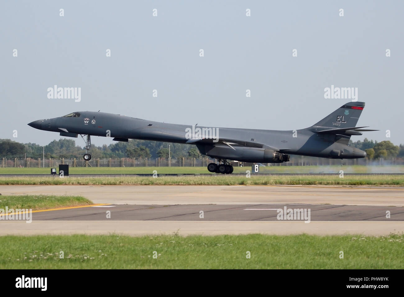 Rockwell B-1B Lancer from the 34th Bomb Squadron at Ellsworth AFB, South Dakota landing at RAF Mildenhall, Suffolk for a brief fuel. stop. - Stock Image