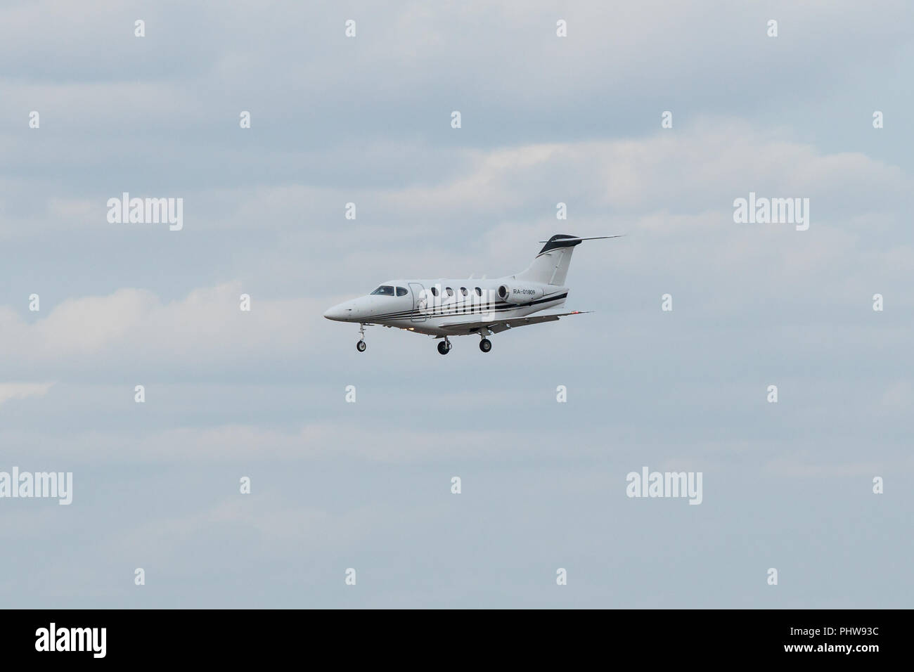 SAINT PETERSBURG, RUSSIA - APRIL 09, 2017: Flying the Raytheon 390 Premier IA (OM-VPB) - Stock Image