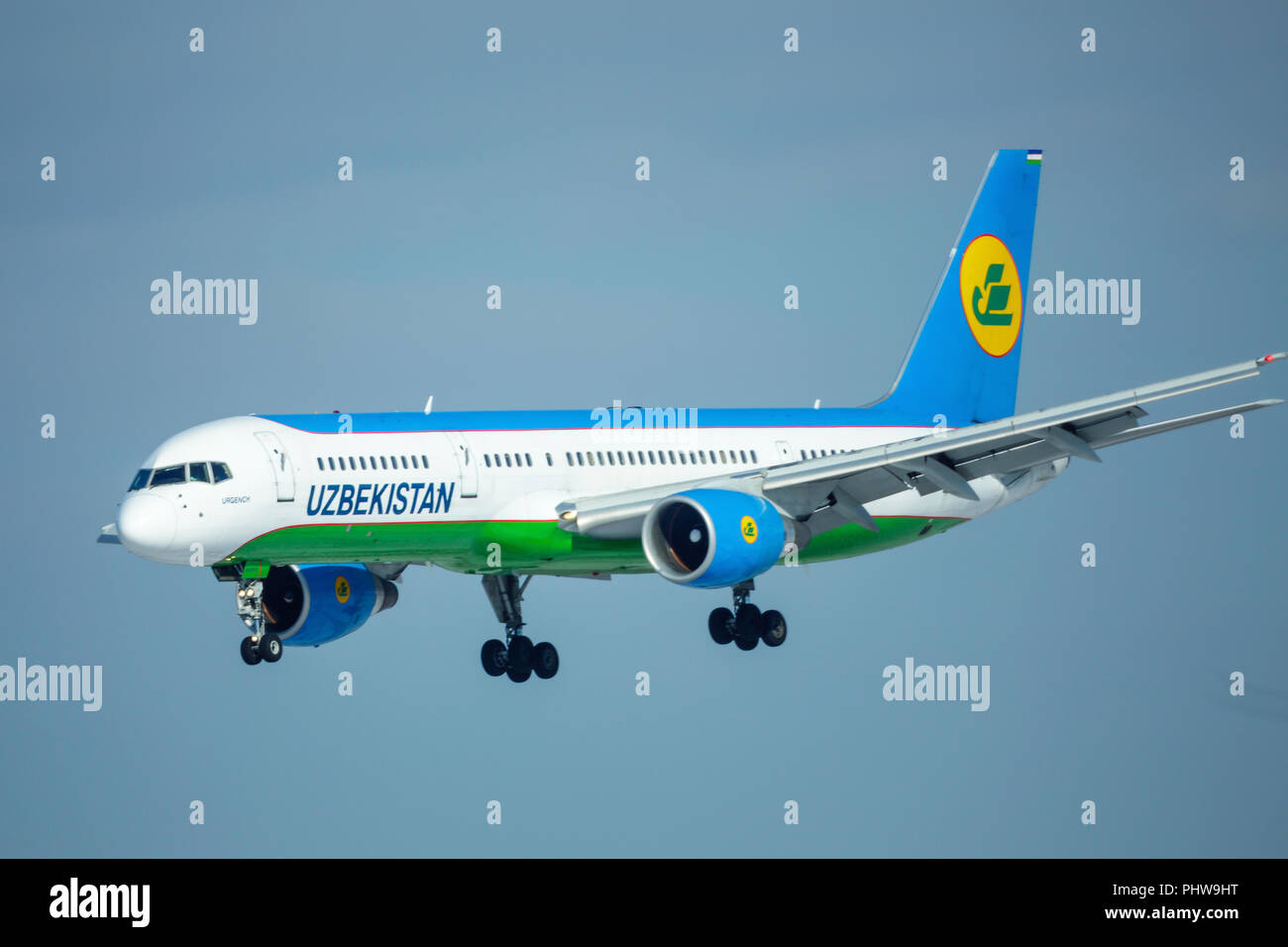 SAINT PETERSBURG, RUSSIA - APRIL 19, 2017: Flying the Boeing 757-23P (UK75701) airline «Uzbekistan Airways». The plane goes on landing at Pulkovo airp - Stock Image