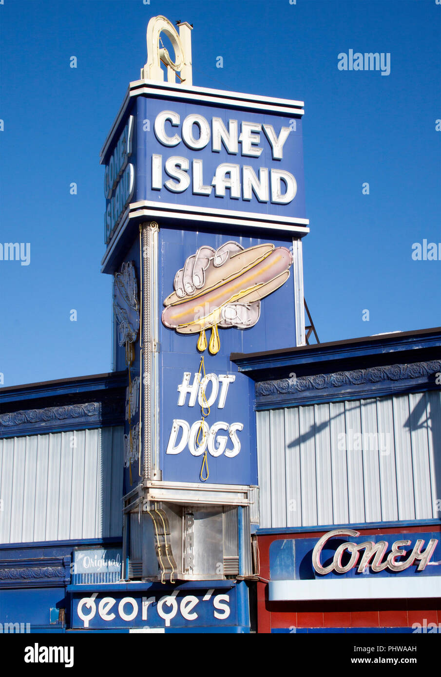 Coney Island Hot Dogs Diner in Worcestor Massachusetts - Stock Image