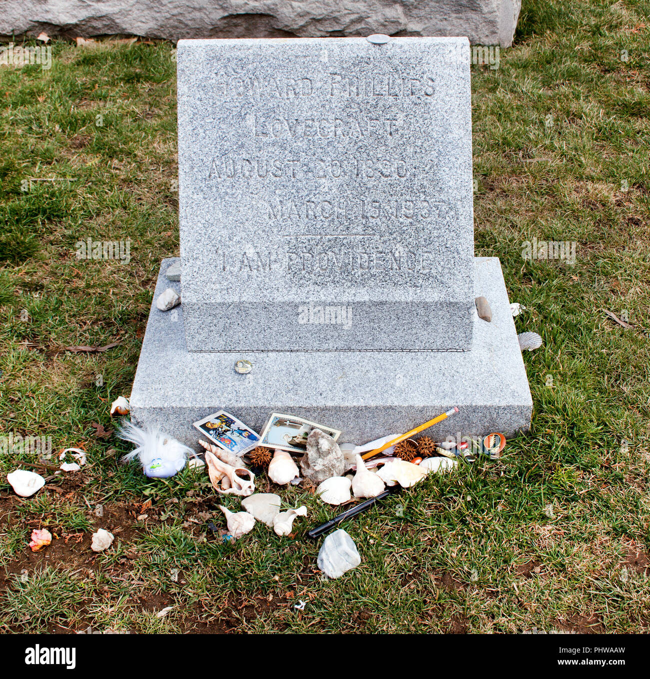 H.P. Lovecraft's Grave in Providence Rhode Island - Stock Image