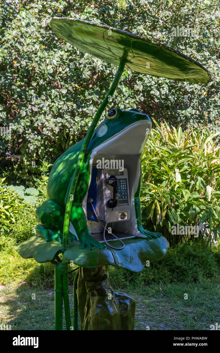 A payphone decorated with a green frog. Taipei Botanical Garden. Taipei, Taiwan, China. - Stock Image