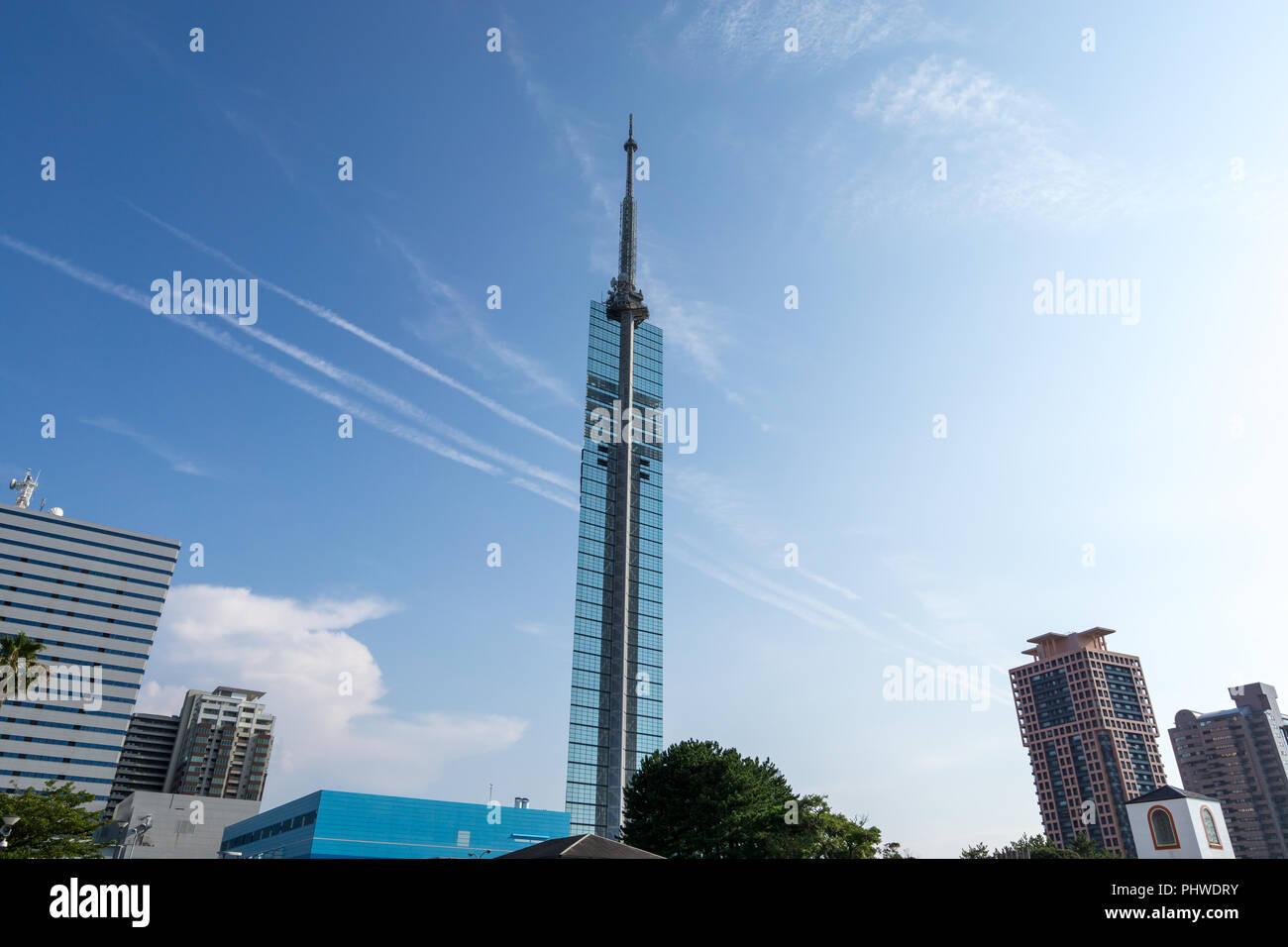 fukuoka tower viewed from below - Stock Image
