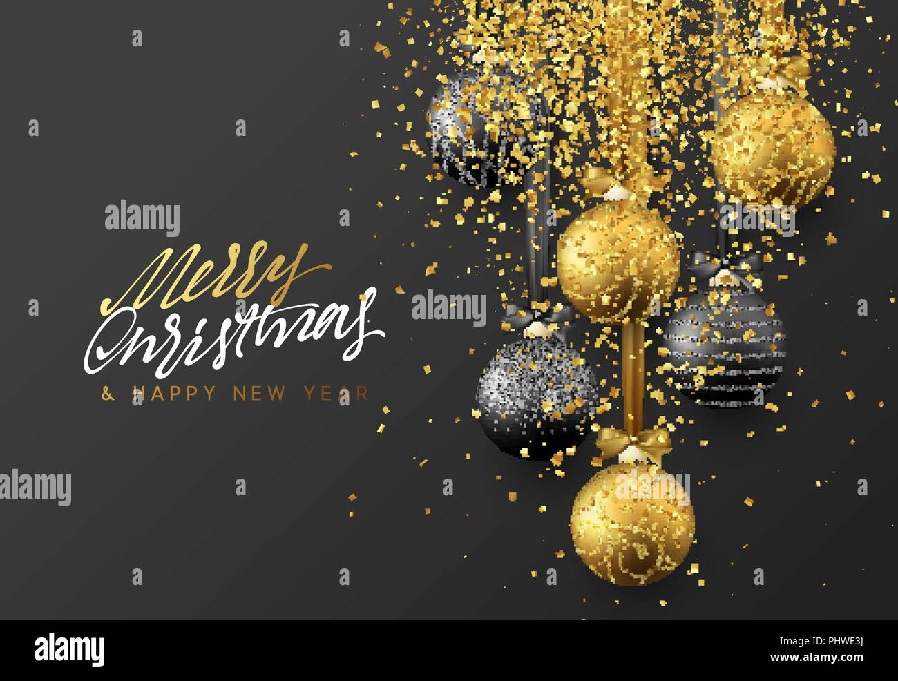 christmas greeting card design of xmas balls with golden glitter confetti on dark background