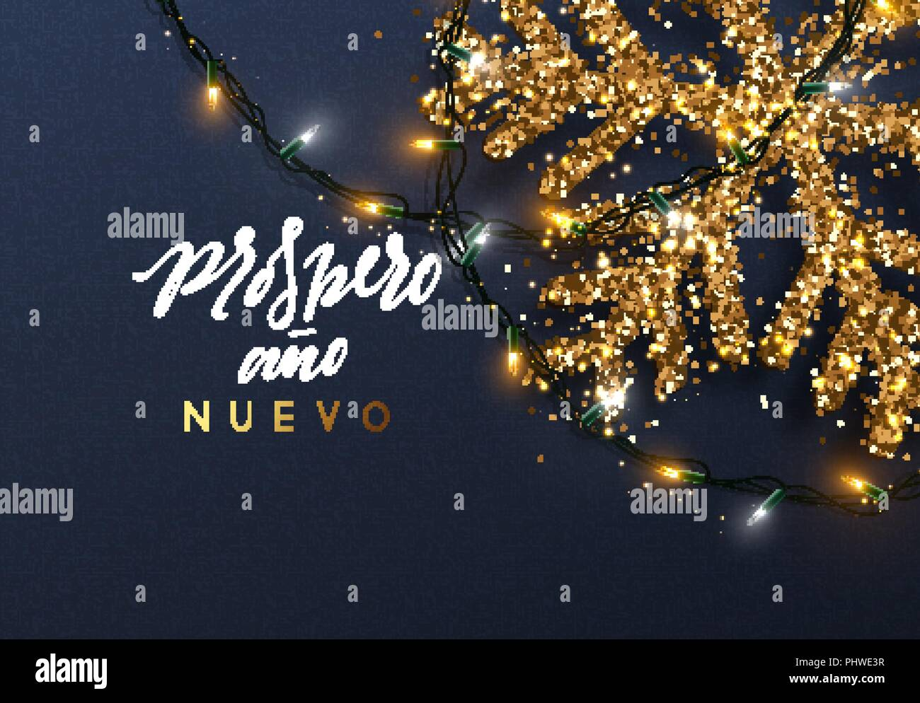 Christmas background with Shining gold Snowflakes. Spanish text ...