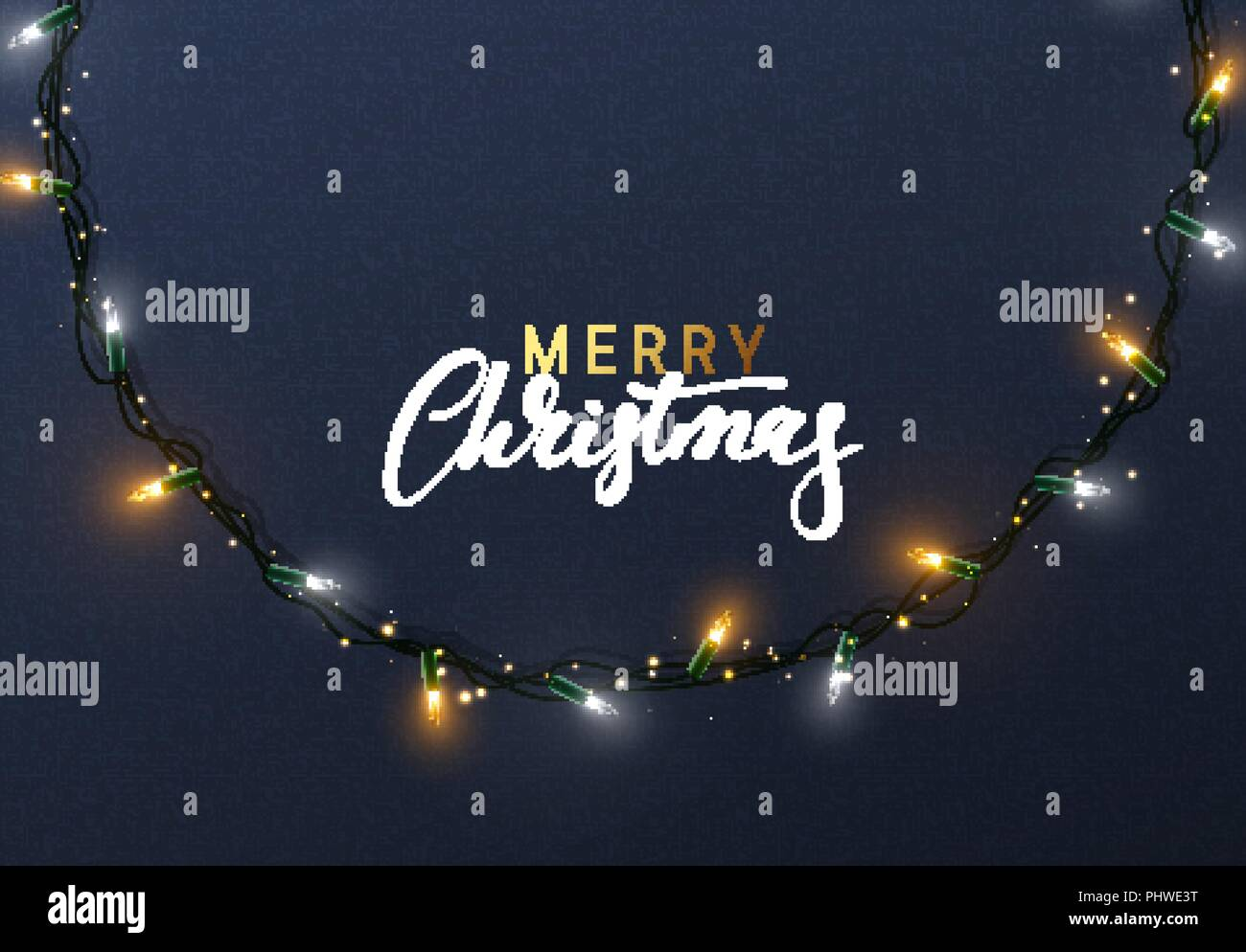 Glowing Christmas Lights Wreath For Xmas Holiday Greeting Cards