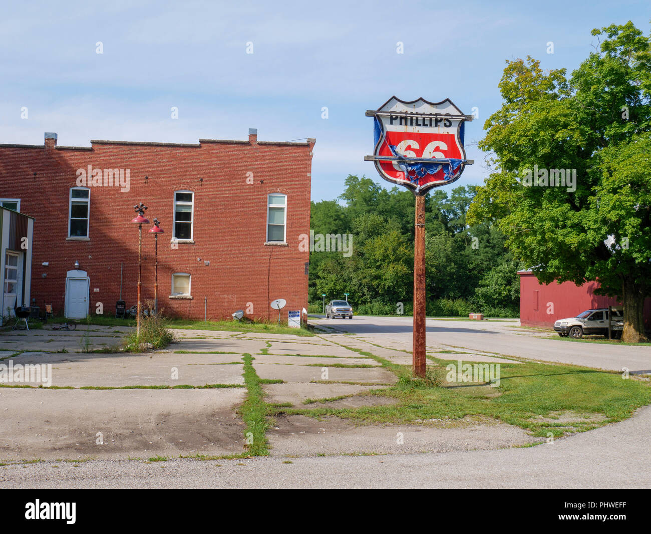 Former Phillips 66 gas station. Stockwell, Indiana. - Stock Image
