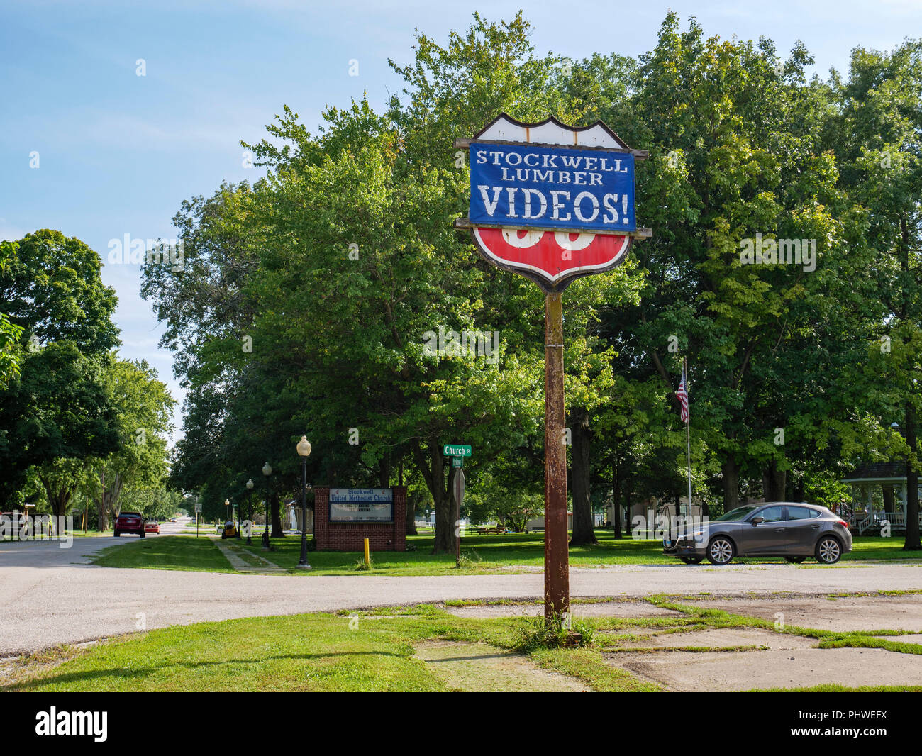 Former gas station now selling lumber and videos. Stockwell, Indiana - Stock Image