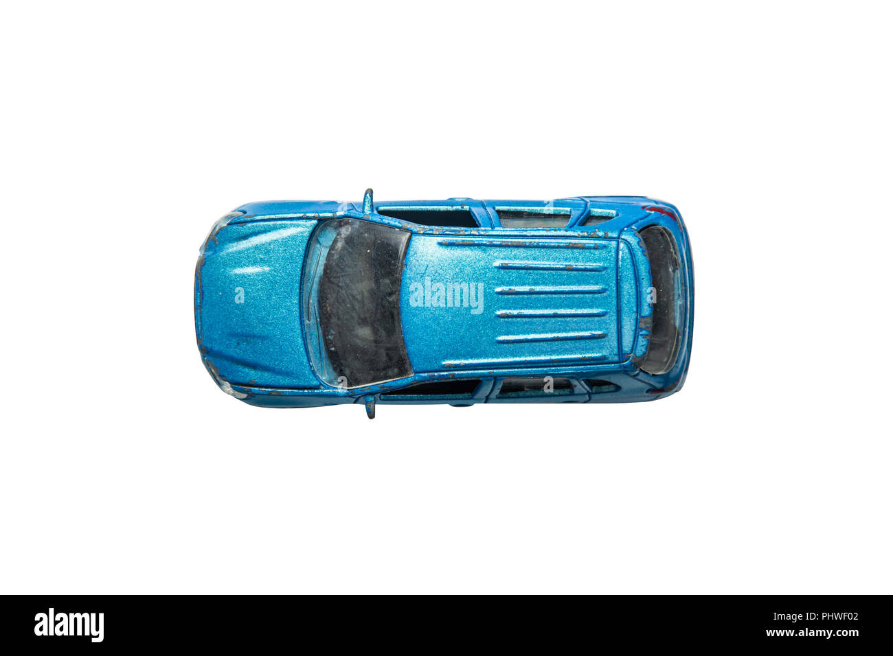 Car Toy Diecast On The White Background Top View Clipping Path