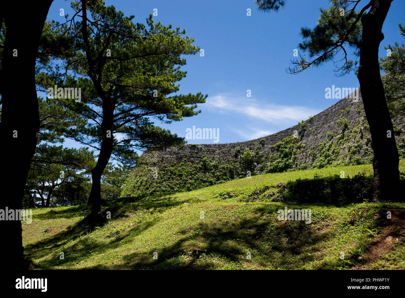 Photo shows Zakimi Castle ruins in Yomitan VILLAGE, Okinawa Prefecture, Japan, on May 20, 2012. Built between 1416 and 1422 by the renowned Ryukyuan m - Stock Image
