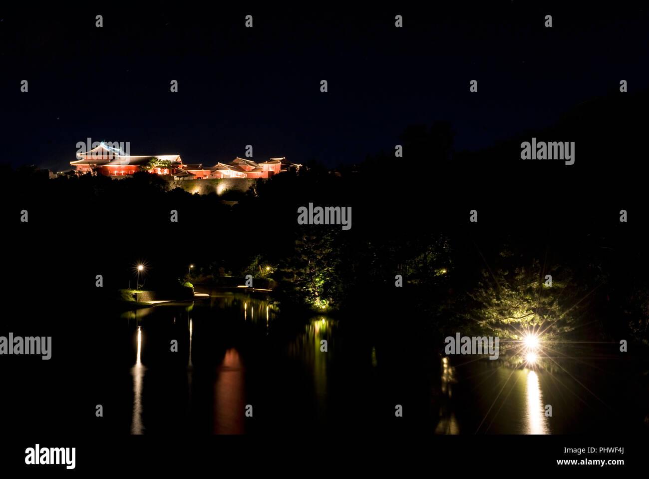 Photo shows Shuri Castle illuminated at night in Naha, Okinawa Prefecture, Japan, on June 24, 2012. Photographer: Robert Gilhooly - Stock Image
