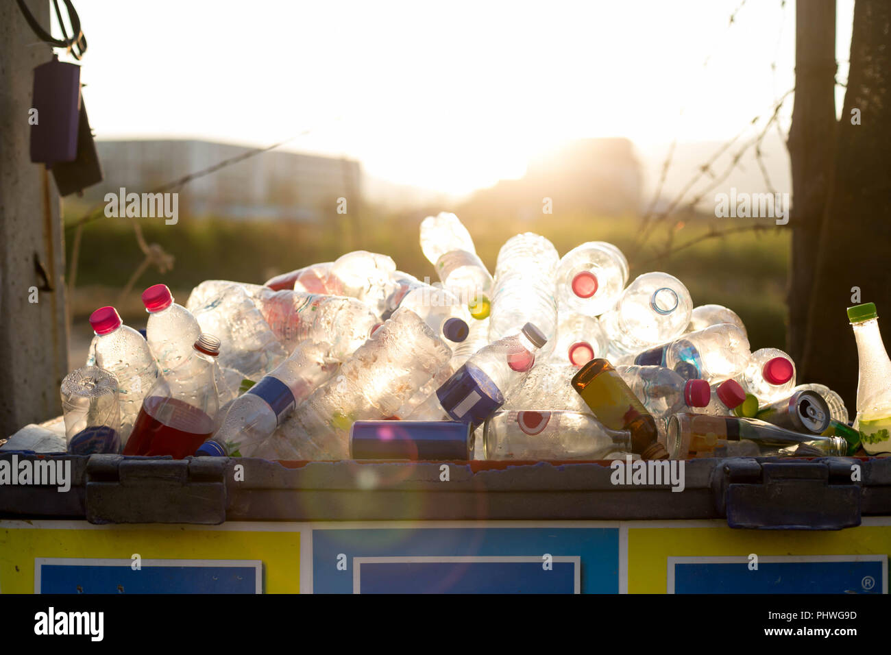 Recyclable garbage of glass and plastic bottles  - Stock Image