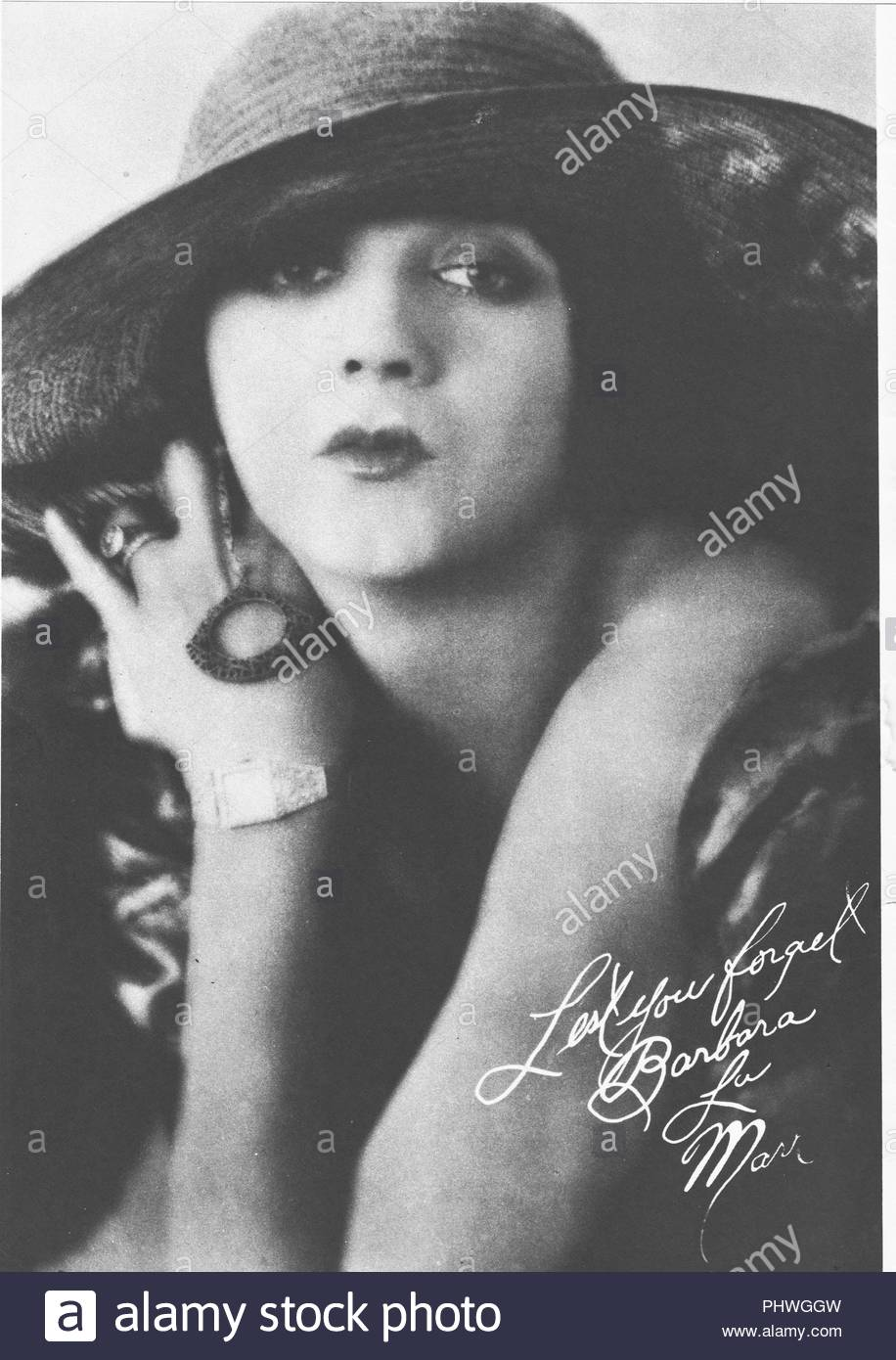 Barbara La Marr (1896-1926) American silent film actress and screenwriter. Her films include The Three Musketeers, Flame of Youth, Souls for Sale. She died young, at age 29, of tuberculosis. A great beauty, MGM chief Louis B. Mayer named Hedy Lamarr after her. - Stock Image