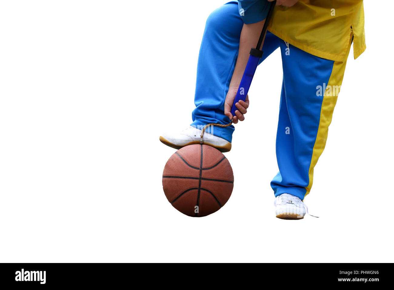 School boe hand pumping up basketball over white background - Stock Image