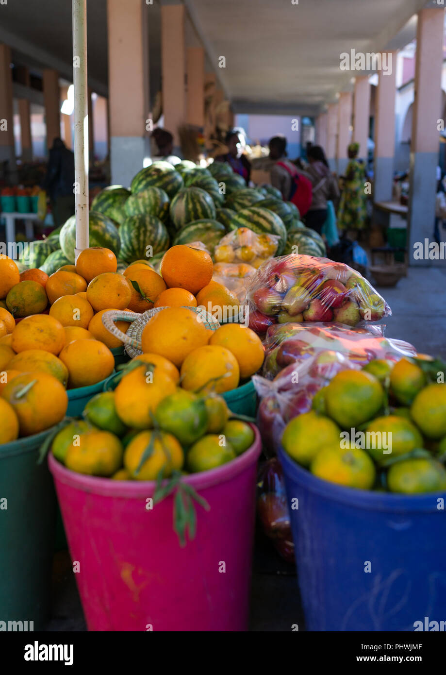 Fruits sold in the central market, Huila Province, Lubango, Angola Stock Photo