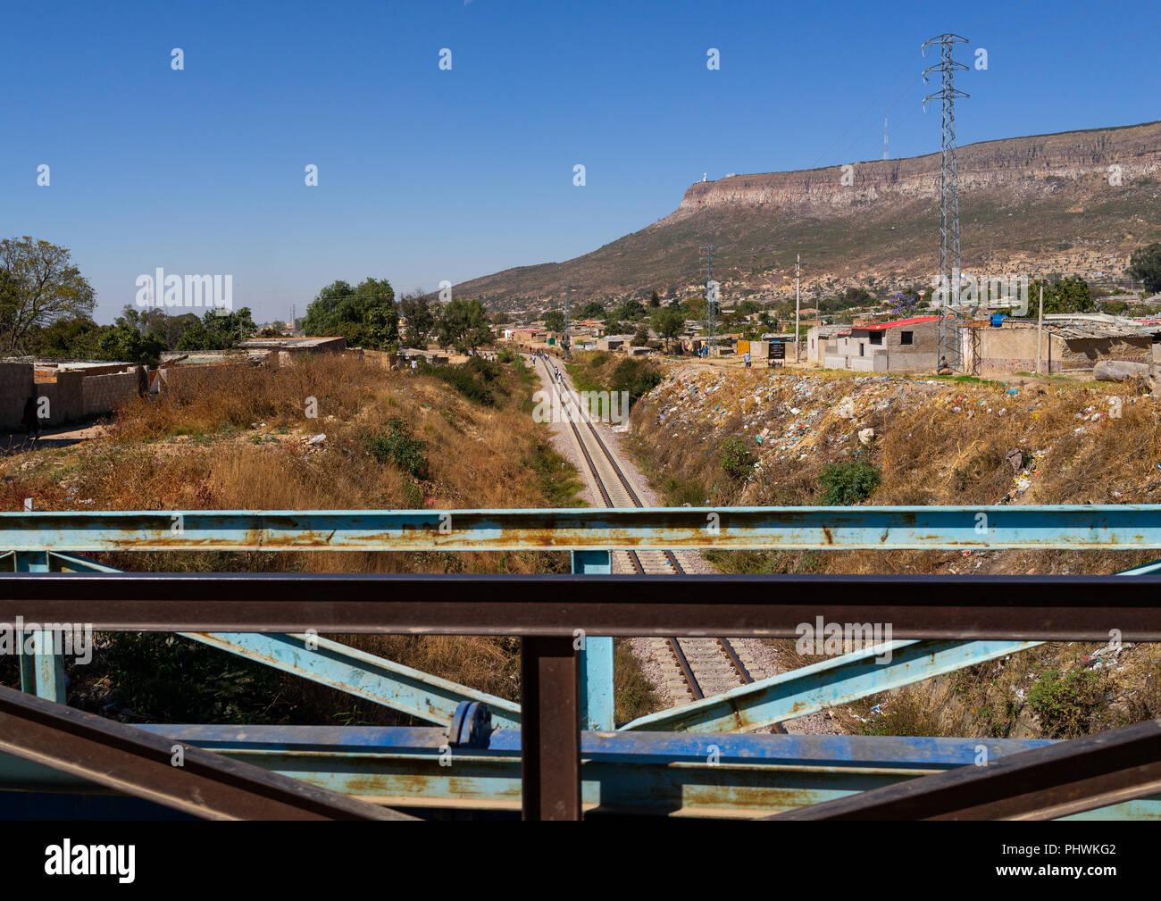 Railroad track, Huila Province, Lubango, Angola - Stock Image