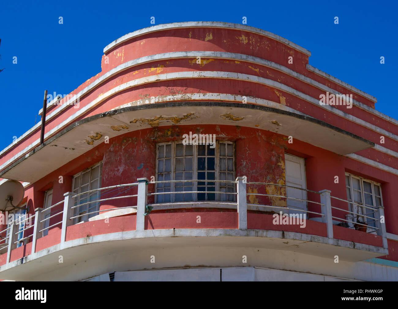 Old portuguese colonial apartements building, Huila Province, Lubango, Angola Stock Photo