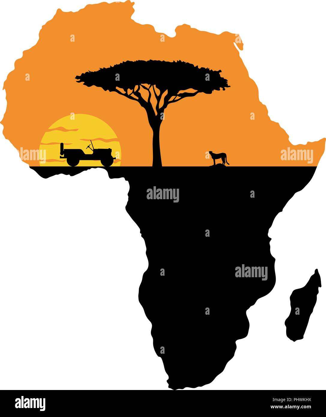 Cheetah and car on the background of the setting sun and the map of Africa - Stock Image