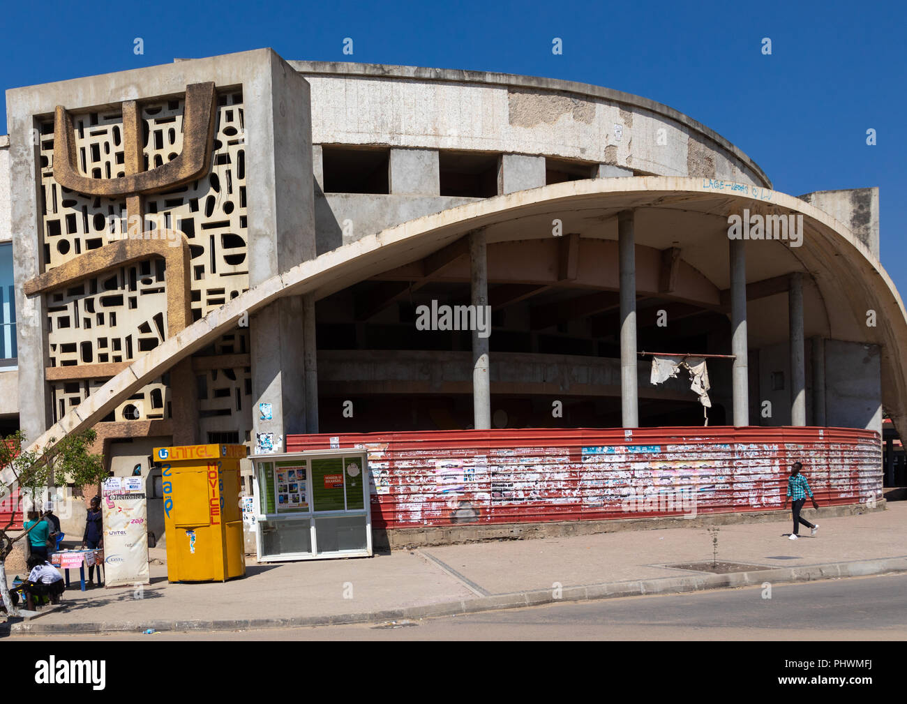 Old portuguese colonial building of the cine teatro Arco Iris, Huila Province, Lubango, Angola Stock Photo