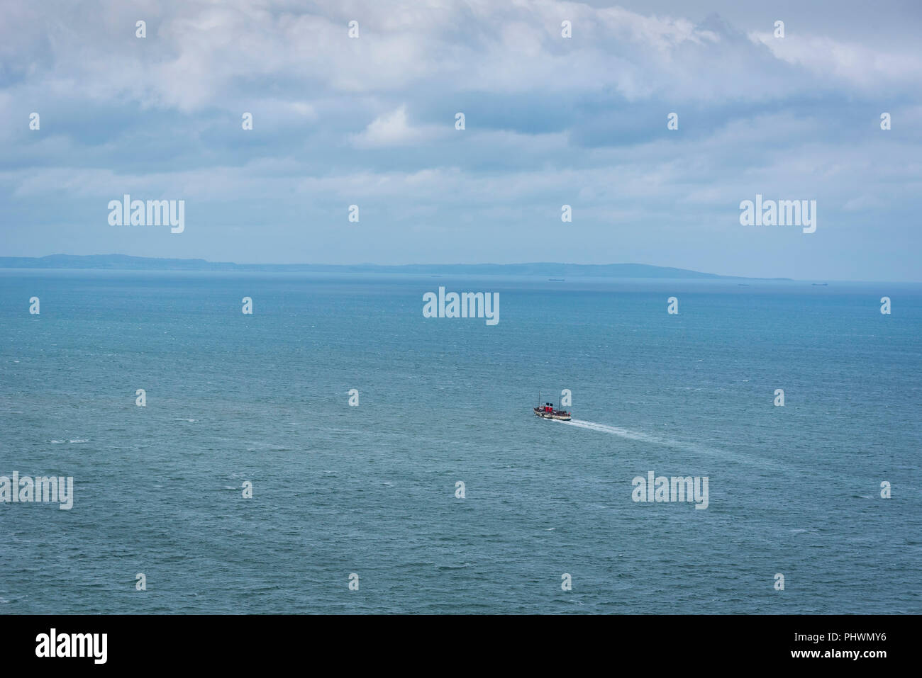 llandudno North Wales. Worlds last seagoing paddle steamer The Waverley. At sea. - Stock Image