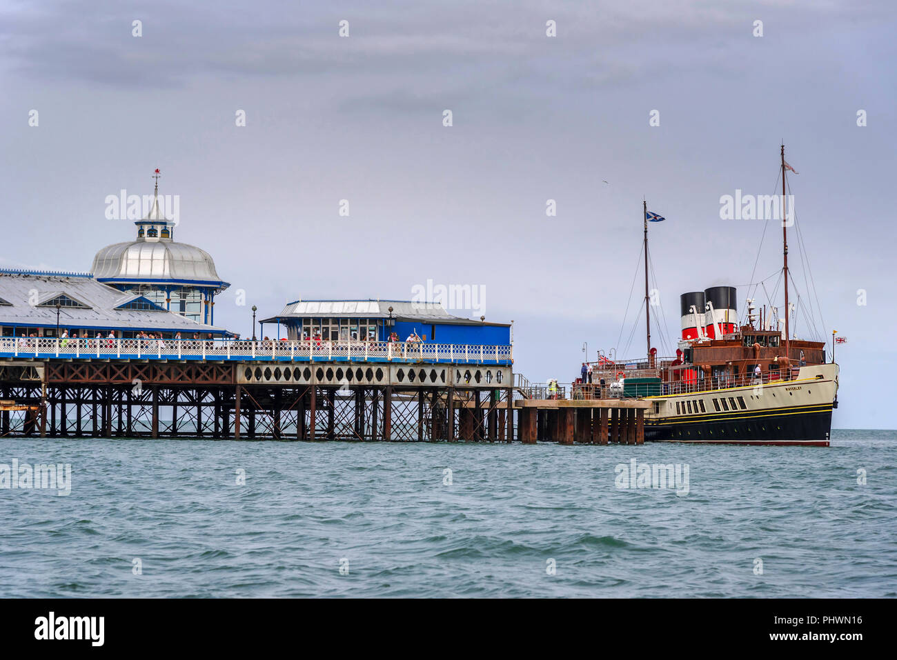 llandudno North Wales. Worlds last seagoing paddle steamer The Waverley. Berthed at the Victorian Pier. - Stock Image
