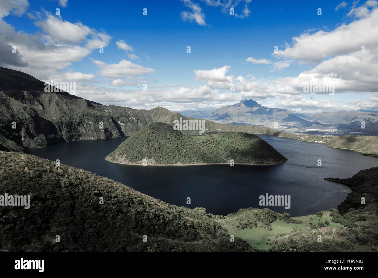 Cuicocha crater lake and caldera, Cotacachi volcano, Ecuador Stock Photo