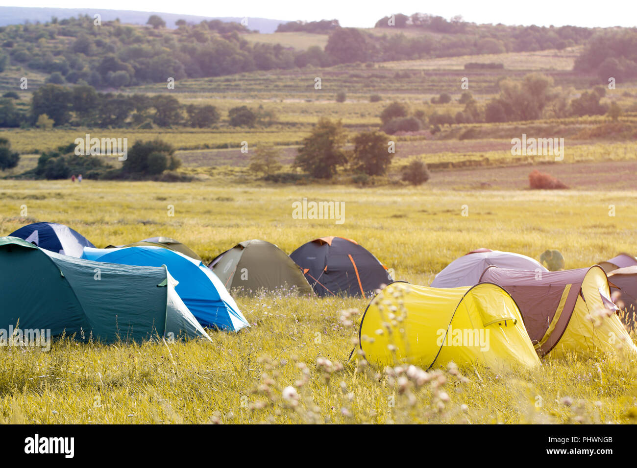 summer camping tents - Stock Image