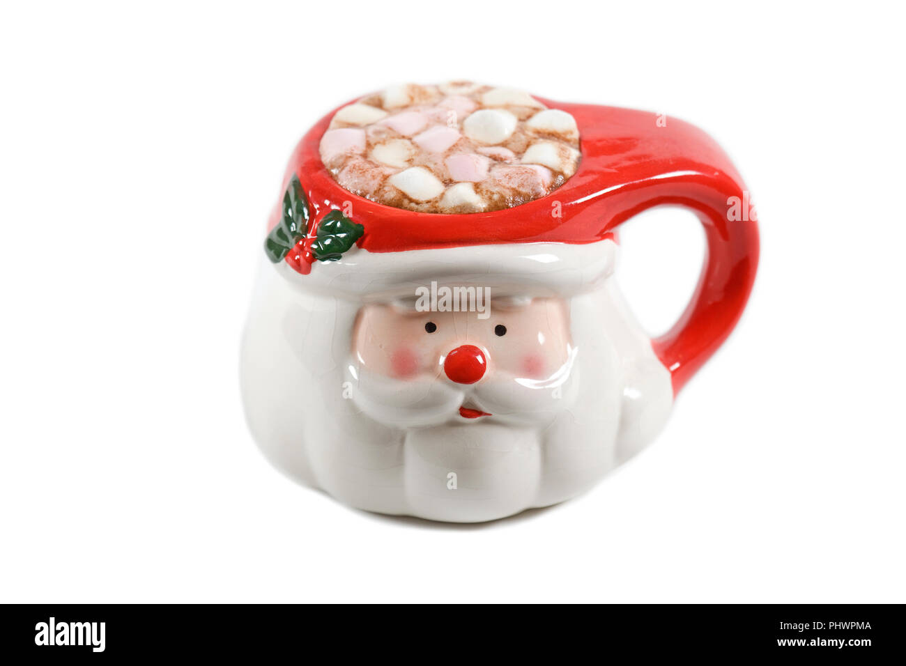Santa Mug With Hot Chocolate And Marshmallows Stock Photo Alamy
